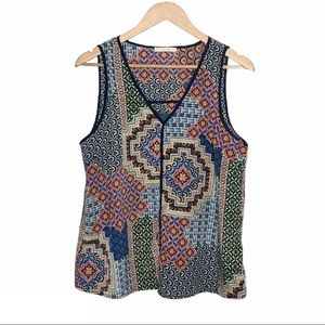 Skies Are Blue Sleeveless Top Colorful Geometric M